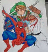 Link, Ryu and Spider-man