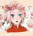 Sakura Haruno with roses