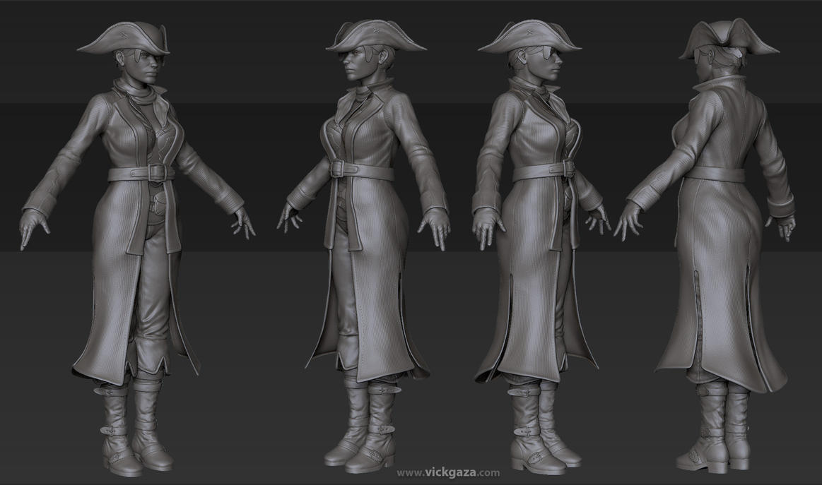 Pirate Girl - High Poly by vickgaza
