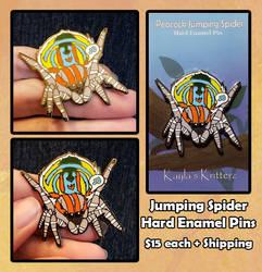 Jumping Spider Enamel Pins by BlueWolfCheetah