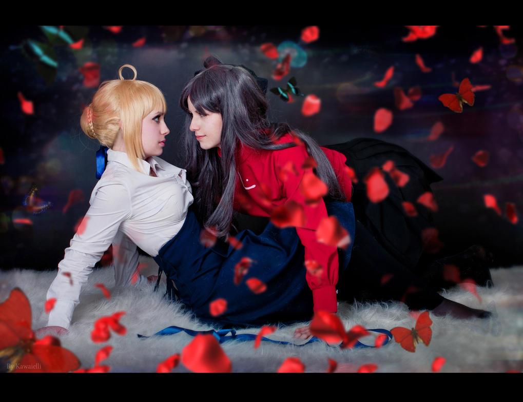 Saber and Rin Tohsaka by KirikoSan