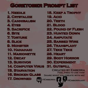 Goretober Prompt List Version 2