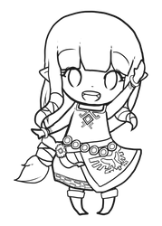 Free to Color: Chibi Skyward Zelda by Zel-Duh