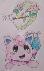Shaymin and Jigglypuff      old Pokemon art