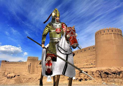 Azadan-i-Kirmansahr in front of the Rayen citadel