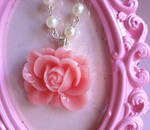 Peach Rose and Pearl Necklace