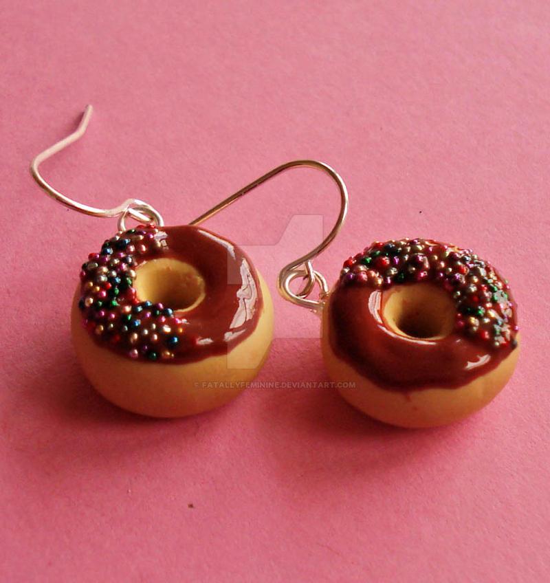 Chocolate Donut Charm Earrings