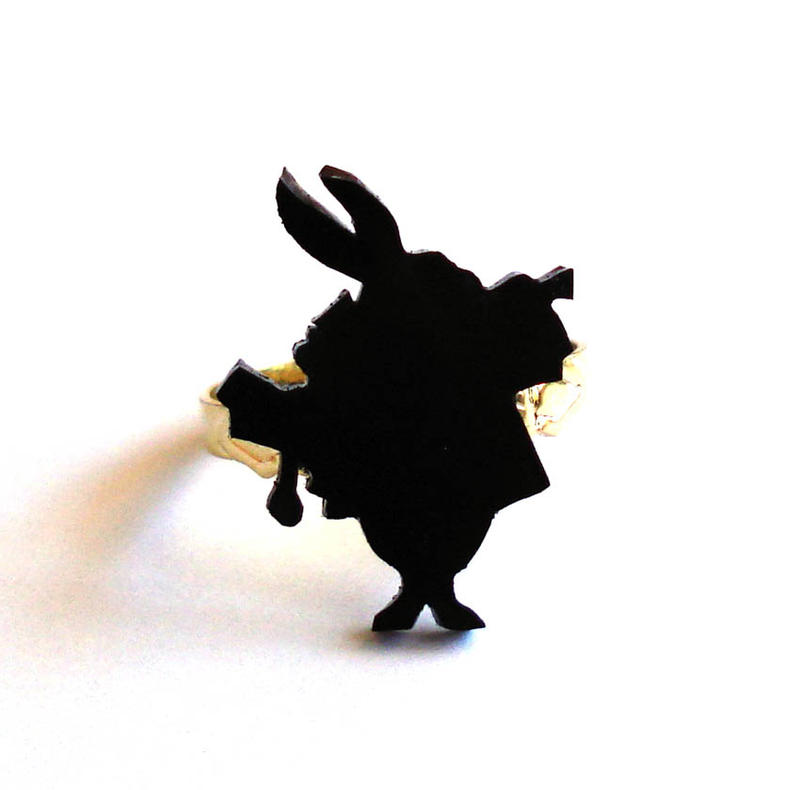 White Rabbit Silhouette Ring by FatallyFeminineWhite Rabbit Silhouette