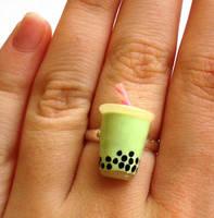 Green Boba Tea Ring by FatallyFeminine