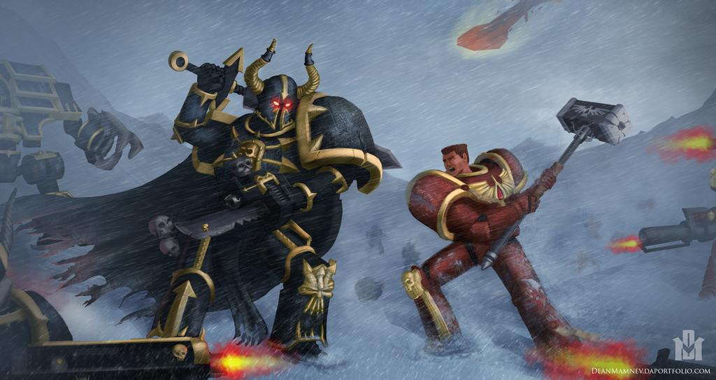 Warhammer 40k: Araghast vs Blood Ravens Commander by DrD-no
