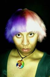 Half pink and half purple hair by ArtNoobly