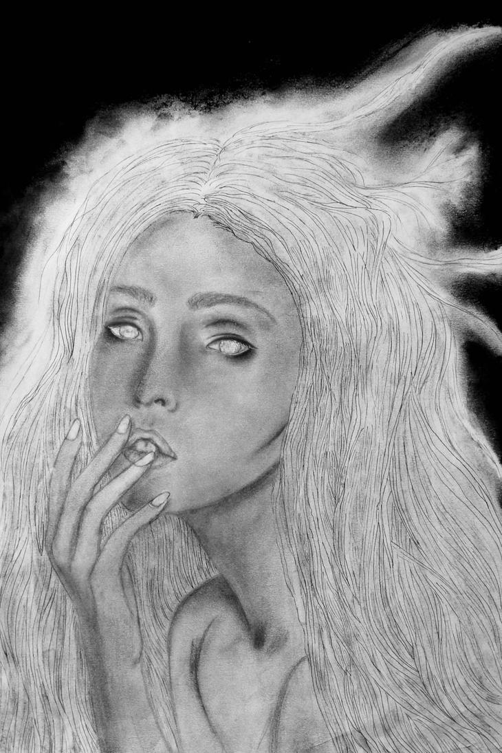 Her empty gaze. by ArtNoobly