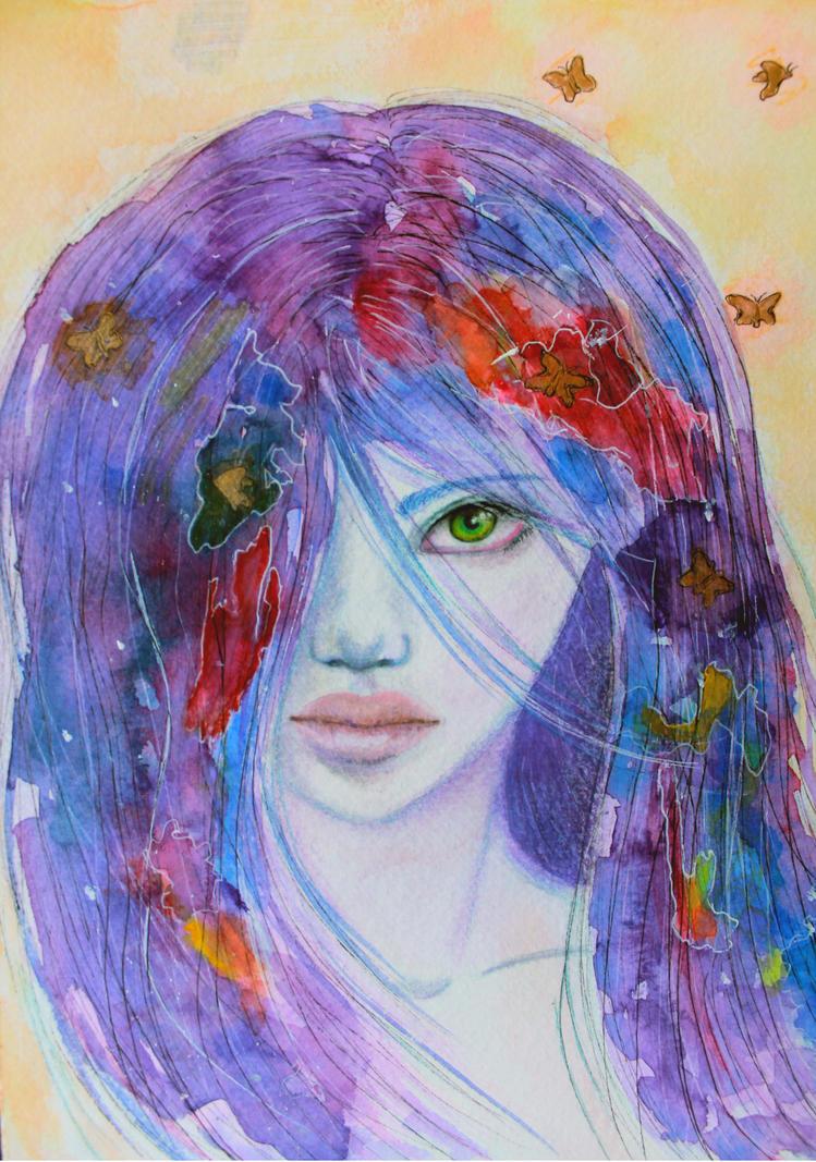 Her green eyed gaze. by ArtNoobly