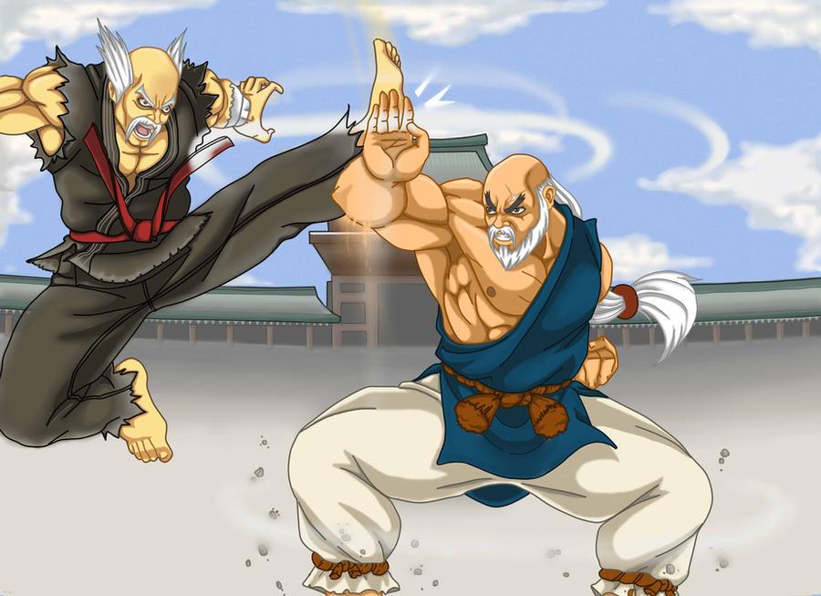 heihachi vs gouken by Blazintexture