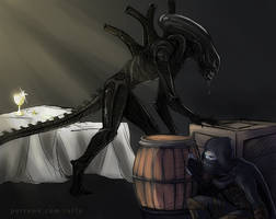 Garrett vs Xenomorph by tallydraws