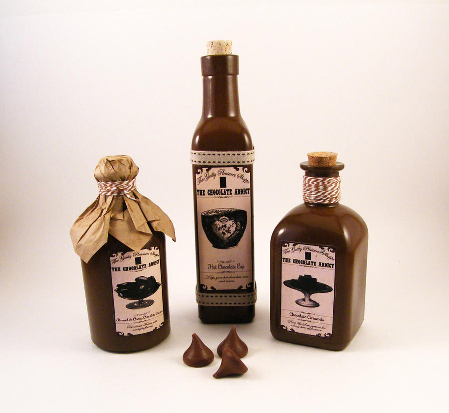 Chocolate Addicts Apothecary Bottles by Dynamicalley