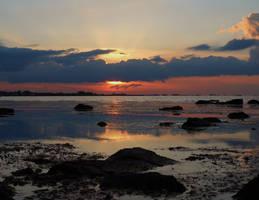 Sundown over lake Grevelingen