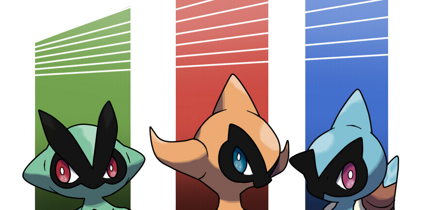Trio fakemon: frog, lizard and turtle by fer-gon