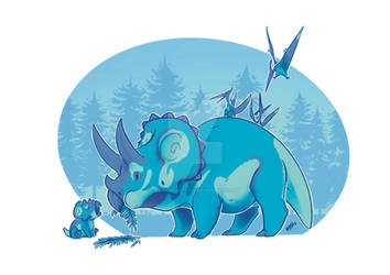 Mama Triceratops And Baby