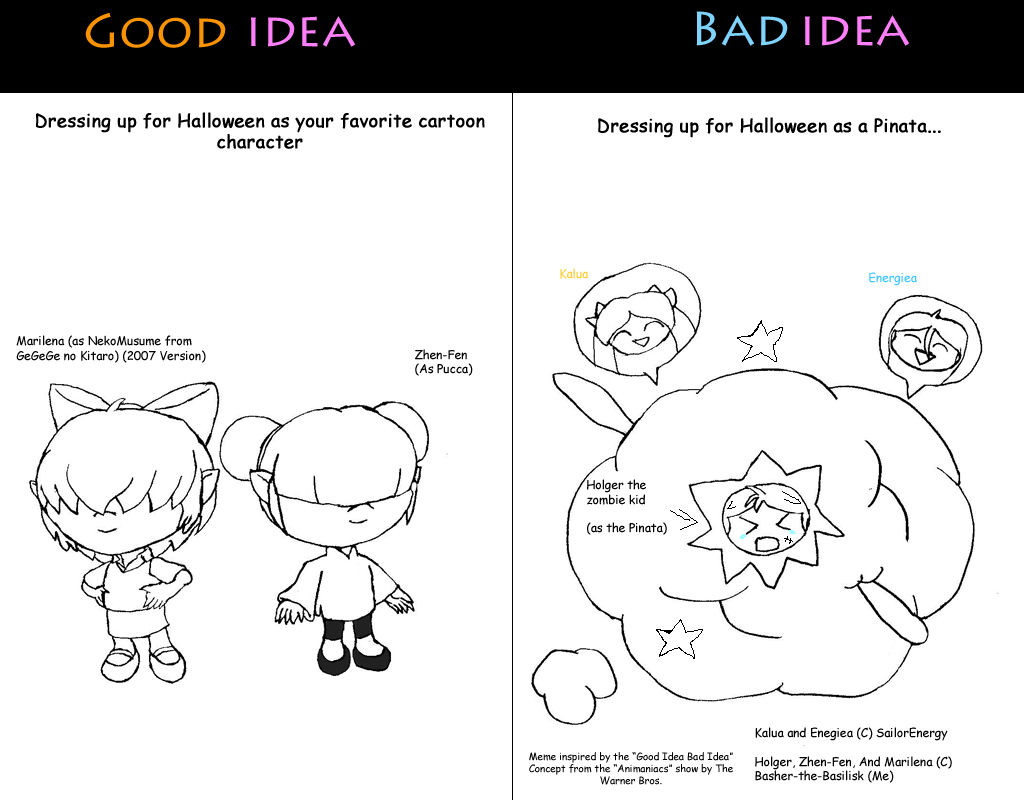 Good Idea Bad Idea Meme: Halloween Costume by Basher-the-Basilisk