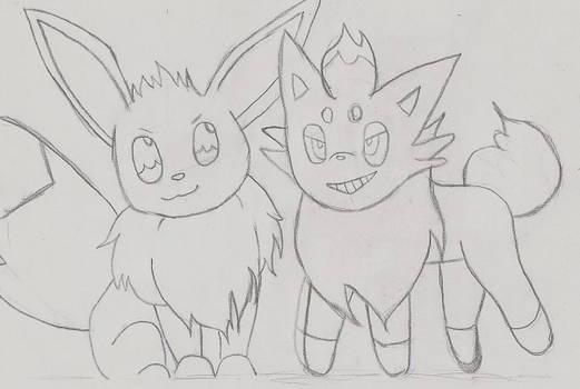 Zorua and Eevee-WIP