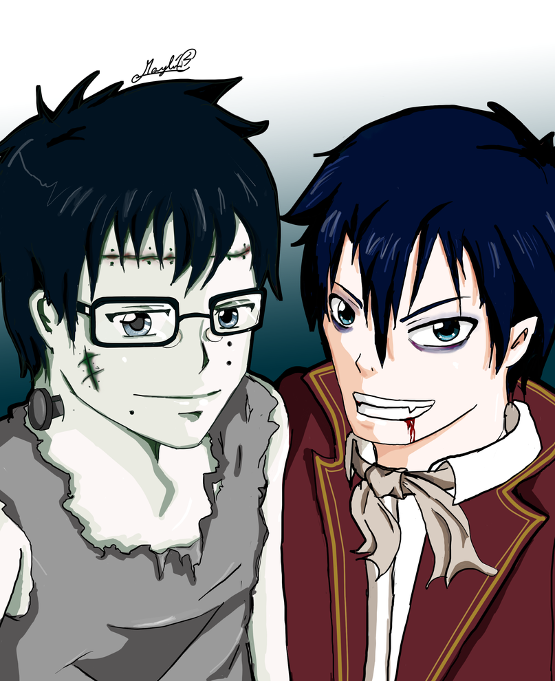 Yukio and Rin Halloween by RayRayRaww