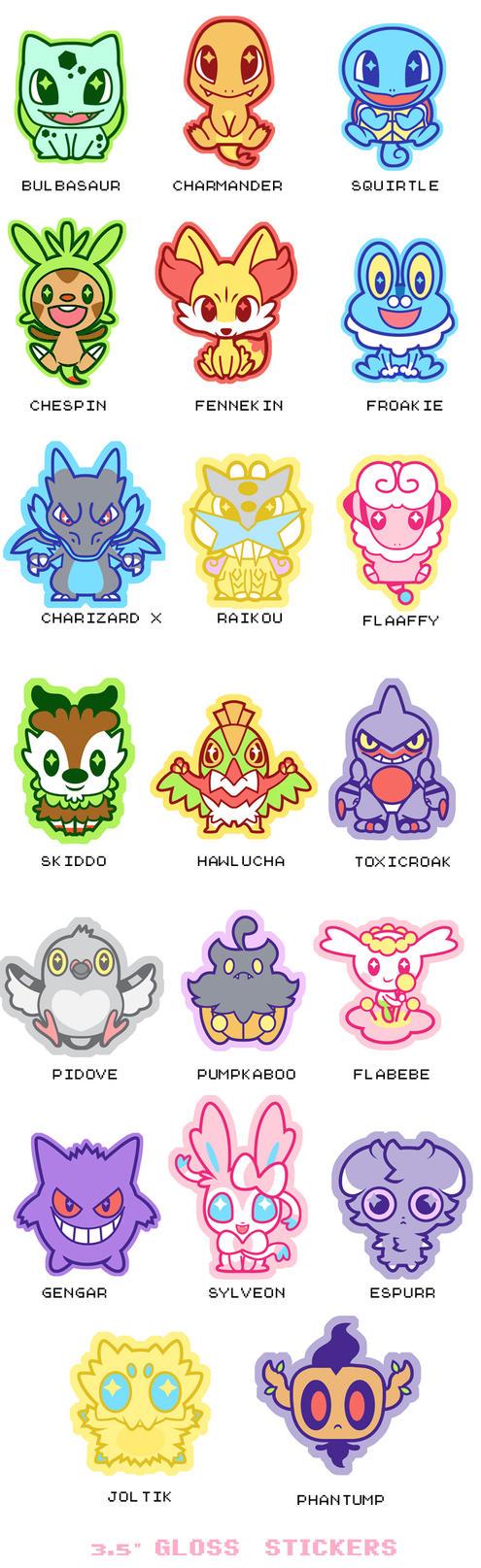 Pokemon stickers series 1 by DisfiguredStick
