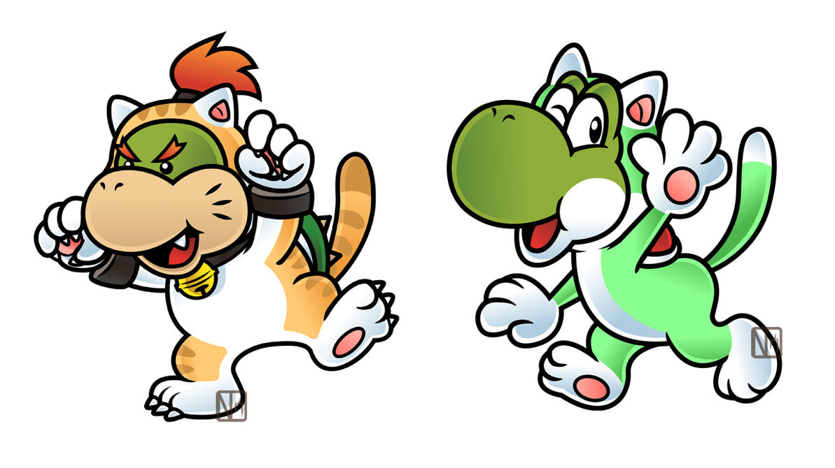 Super Bell Yoshi and Bowser Jr by DisfiguredStickYoshi And Bowser