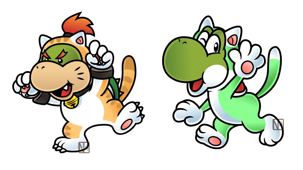 Super Bell Yoshi and Bowser Jr by DisfiguredStick