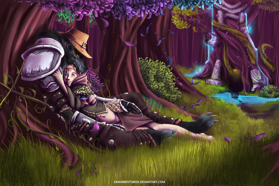 Worgen and Human (commission) by hotbento