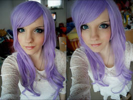 Purple Wig test + Makeup