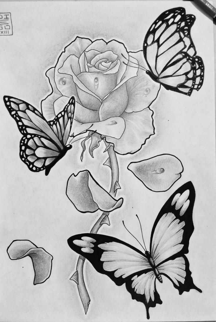 Butterfly and rose drawing - photo#5