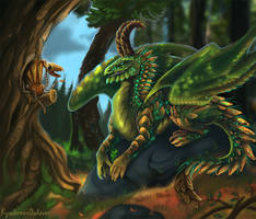 Forest dragoness and her little friend by 0-Kyuubs-0