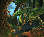 Forest dragoness and her little friend