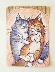 Sleeping kitties by 0-Kyuubs-0