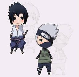 Sasuke :: Kakashi chibis