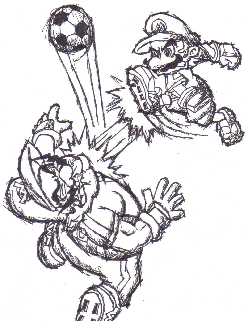 mario strikers coloring pages strikers line art by dairyking on deviantart