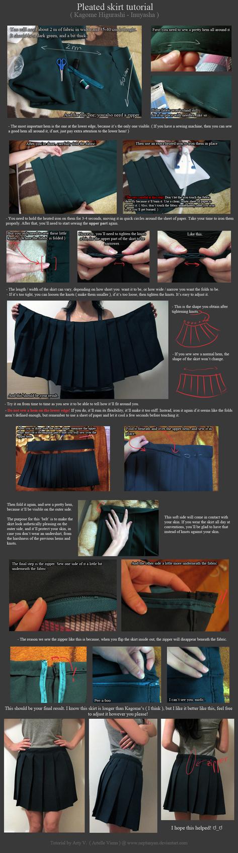 Pleated skirt tutorial - Kagome Higurashi. by neptunyan