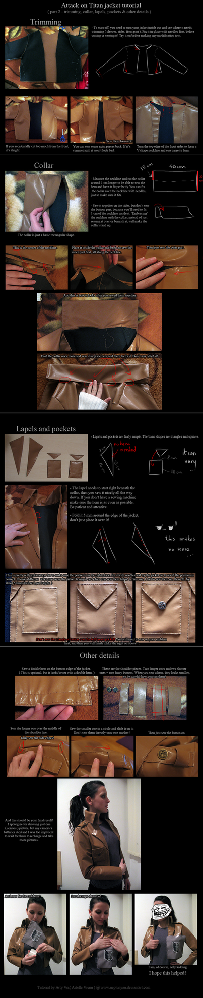 Attack on Titan jacket tutorial - details. by neptunyan