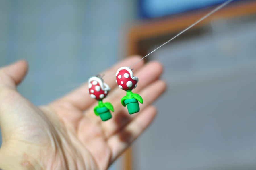 Piranha Plant Earrings by chinggay