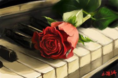 Rose and Piano by equillybrium