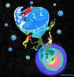 Space Mermaids on a Galaxy Coaster by NeriSiren