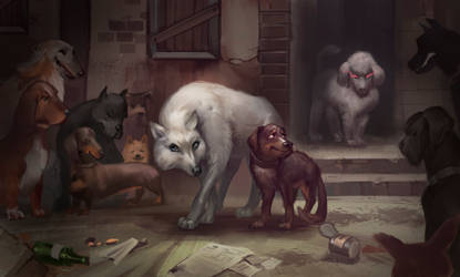 Angua and Gaspode in dogs' guild by NestDaria