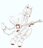 Fox Playing the Air Guitar by GaneneTheInkling