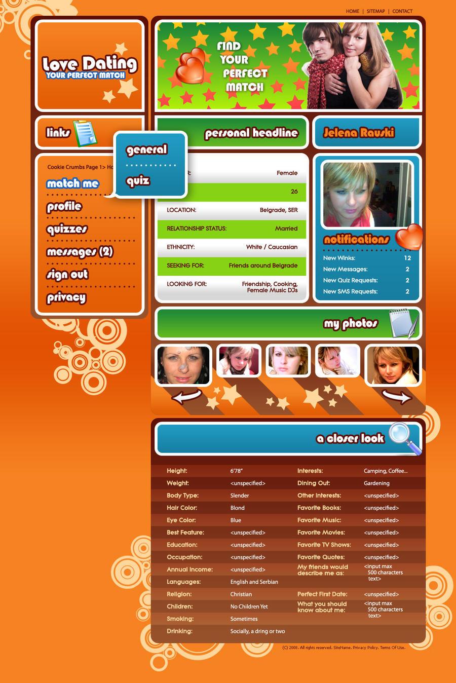 dating portal mock up by djnick2k