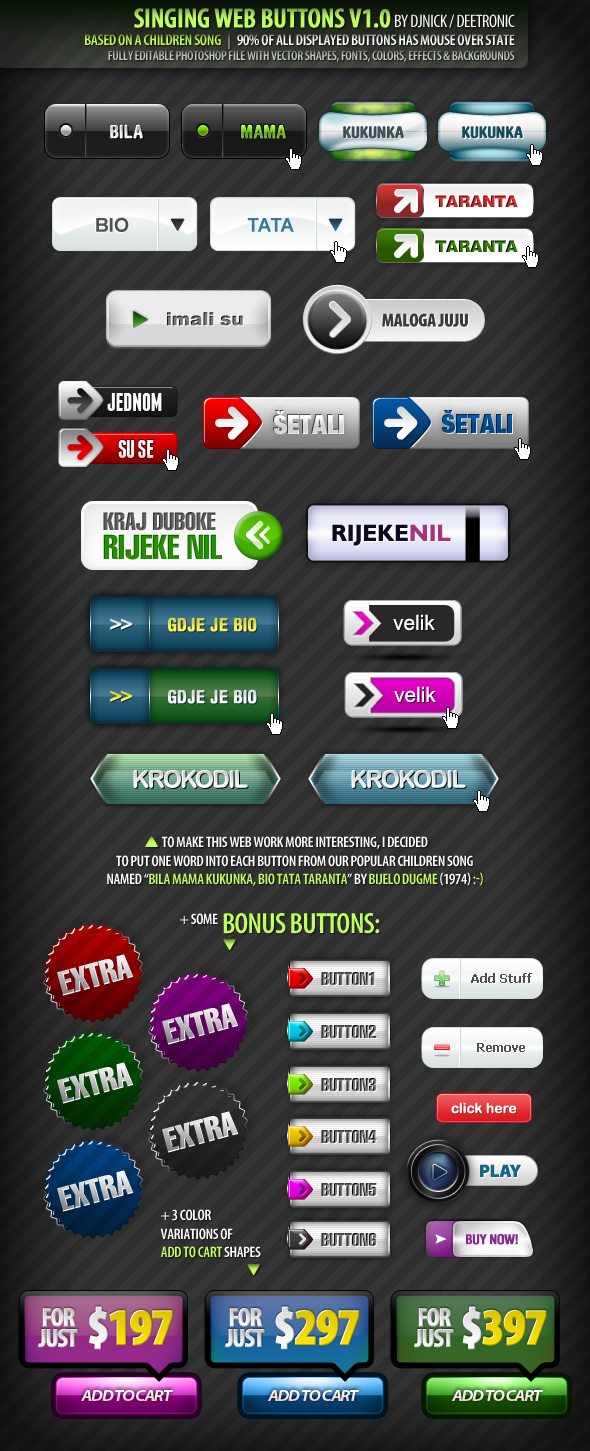 Singing Web Buttons PSD file