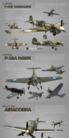 4 3d models of WW2 aircrafts by djnick2k