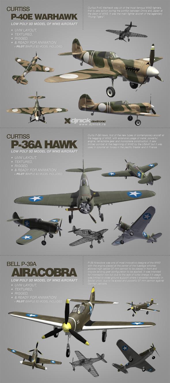 4 3d models of WW2 aircrafts by djnick2k on DeviantArt