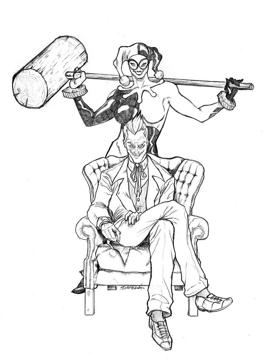 joker and harley quinn coloring pages - joker 39 n harley by domeddi on deviantart