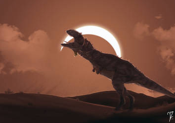 Majungasaurus Howling at the eclipse by BeignetBison